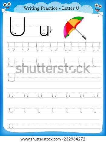 Writing practice letter U  printable worksheet with clip art for preschool / kindergarten kids to improve basic writing skills  - stock vector