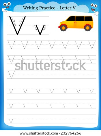 Writing practice letter V  printable worksheet with clip art for preschool / kindergarten kids to improve basic writing skills  - stock vector