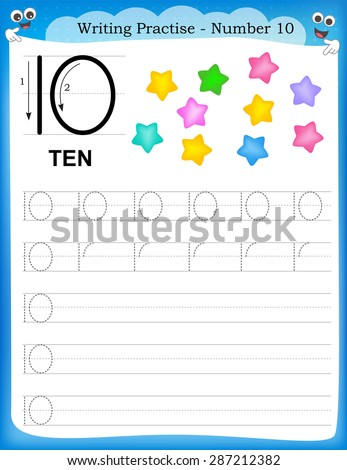 Writing practice number ten printable worksheet for preschool / kindergarten kids to improve basic writing skills - stock vector
