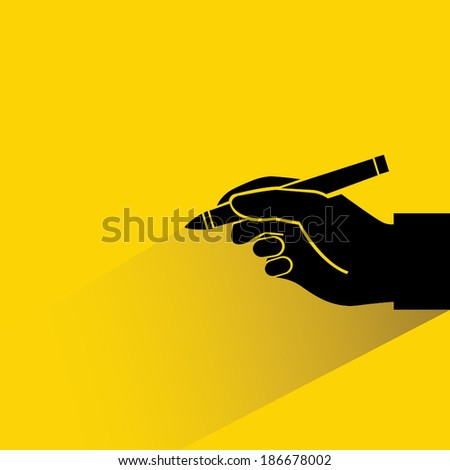 writing yellow background, hand holding pen - stock vector