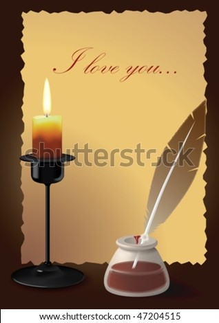 Written acceptance by the light of candles - stock vector