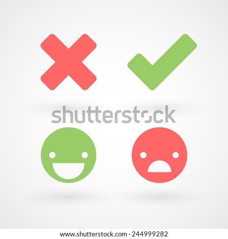Wrong and right check mark icons. Happy and unhappy smileys - stock vector