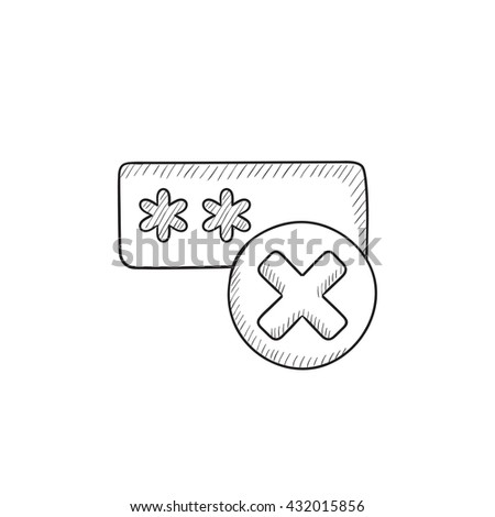 Wrong password vector sketch icon isolated on background. Hand drawn Wrong password icon. Wrong password sketch icon for infographic, website or app. - stock vector
