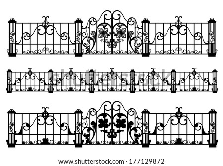wrought iron fence and gate black and white detailed silhouette outlines - stock vector