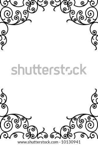 wrought iron frame (vector) - stock vector