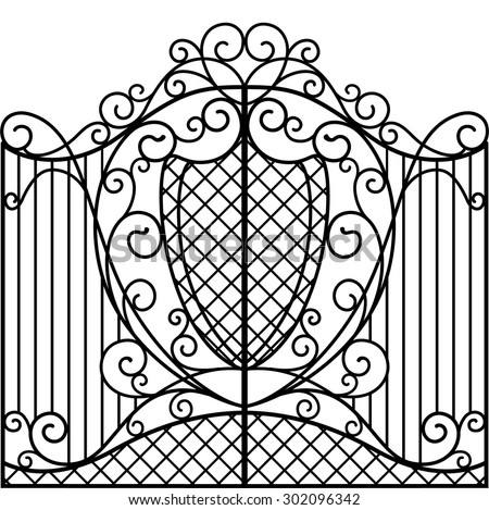 Wrought Iron Gate, Door, Fence - stock vector