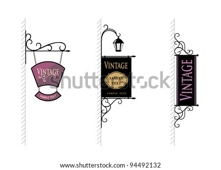 wrought-iron sign for advertising, the vector - stock vector