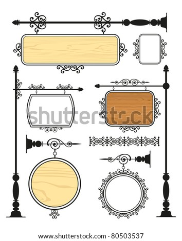 Wrought Iron Signage vector set - stock vector