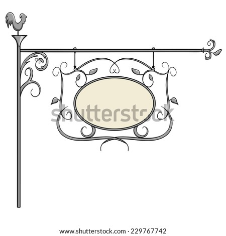 Wrought iron signs for old-fashioned design. Vector illustration. - stock vector