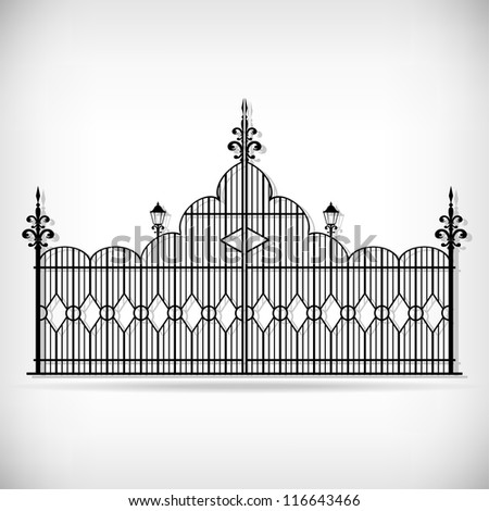 Wrought iron vector gate and design elements - stock vector