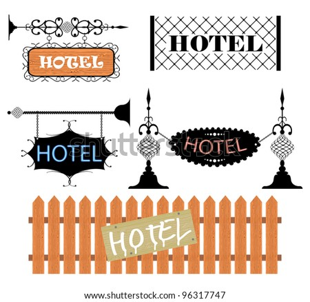Wrought iron vintage signs and decor elements - stock vector