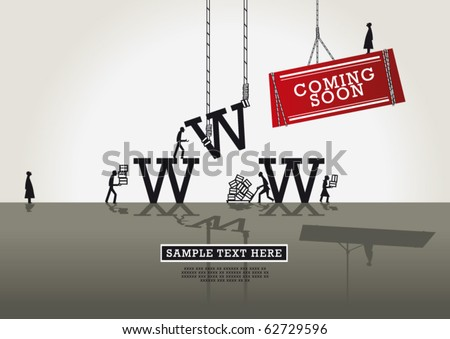 www comingsoon red banner - stock vector
