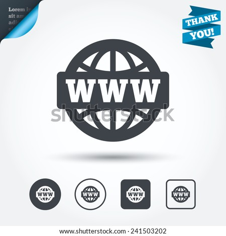 WWW sign icon. World wide web symbol. Globe. Circle and square buttons. Flat design set. Thank you ribbon. Vector - stock vector