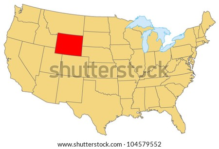 Wyoming Locate Map - stock vector