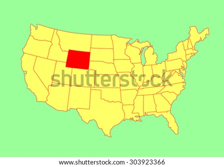 Wyoming State, USA, vector map isolated on United states map. Editable blank vector map of USA..  - stock vector