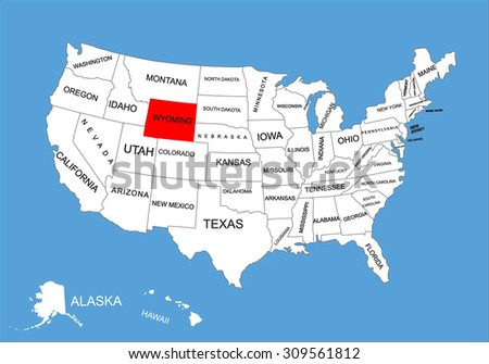 Wyoming State, USA, vector map isolated on United states map. Editable blank vector map of USA. - stock vector