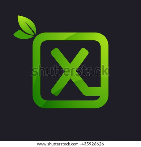 X letter logo in square and green leaves. - stock vector