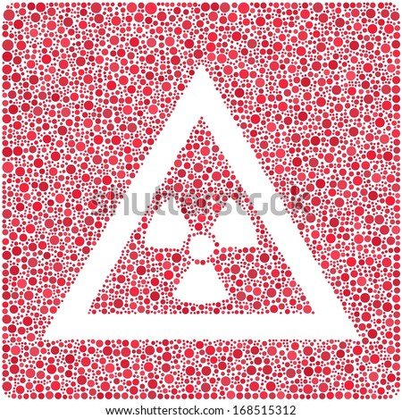 X Ray Danger Sign into a mosaic of red bubbles - stock vector