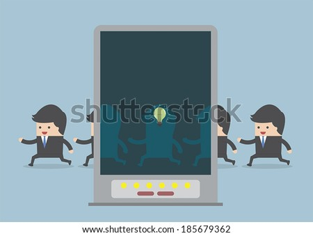 X-ray machine found the best businessman, VECTOR, EPS10 - stock vector