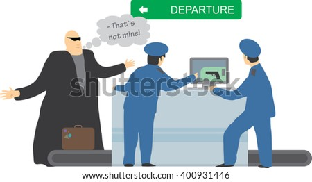 X-ray machine luggage checkup. Officers found a gun in the passenger's baggage.  Security control concept. Vector illustration - stock vector