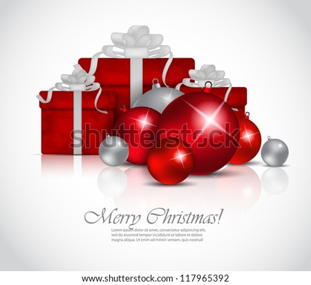 Xmas background with balls and box - stock vector