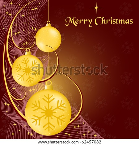 Xmas balls gold, wispy lines, stars and snowflakes on burgundy background. Copy space for text. Raster also available. - stock vector