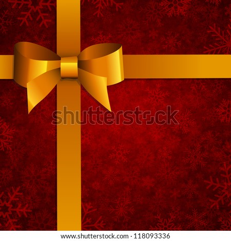 Xmas bow with snowflake pattern - stock vector