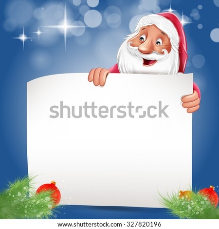 Cheerful Santa Claus on a white background with a blank card. 3d ...