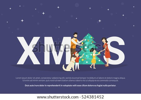 Xmas concept illustration of happy family with kids decorating a christmas tree and giving gifts from each other. Family preparation to holiday. Happy mother, father and children going to celebrate