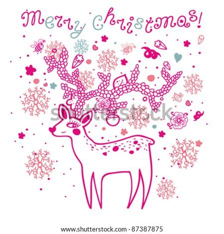Xmas deer in cartoon style - stock vector