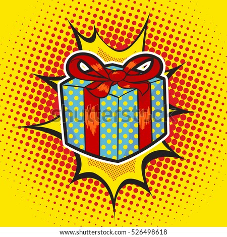 Xmas gift pop art retro stylecolorful stock vector 526498618 xmas gift pop art retro stylelorful image of a present on a retro background negle Images