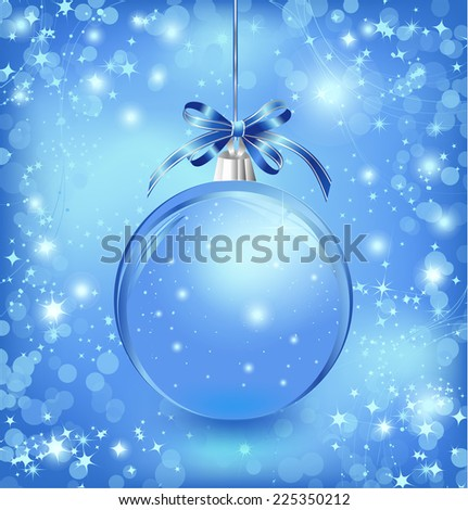 Xmas glass blue ball with snow inside and bow. Vector - stock vector