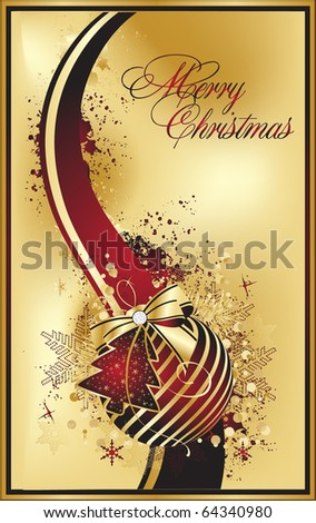 xmas gold illustration - stock vector