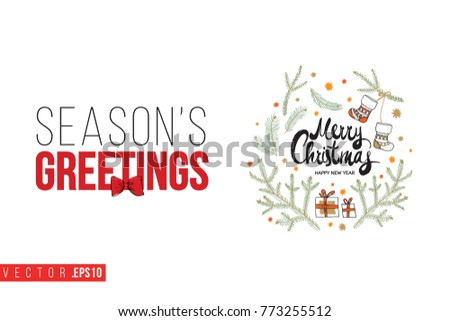 Xmas greeting card composition fir twigs stock photo photo vector xmas greeting card with composition of fir twigs stars gifts and text seasons greetings m4hsunfo