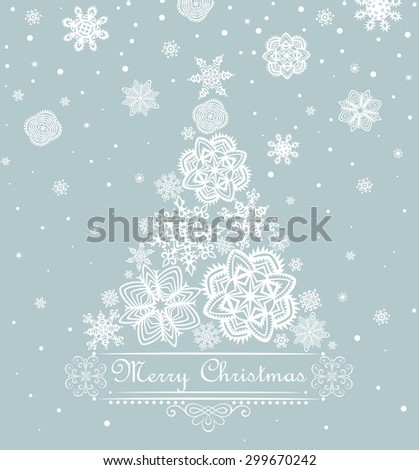 Xmas greeting with paper snowflakes design - stock vector