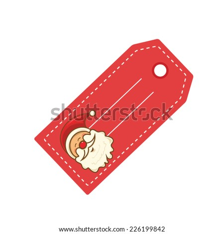 Xmas label with picture of Santa Claus - stock vector