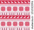 Xmas nordic seamless red pattern with deer  - stock vector