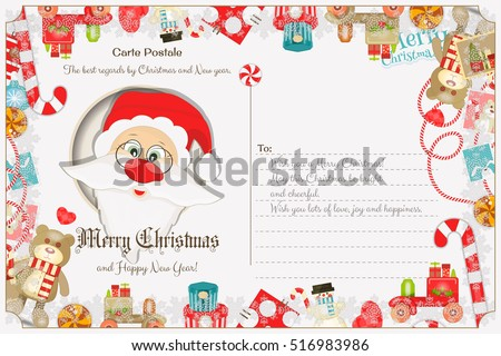 Xmas Postcard with Christmas and New Years Greeting. Backdrop of Postal Card with Postage Stamps for Winter Holiday. Santa Claus. Vector Illustration.