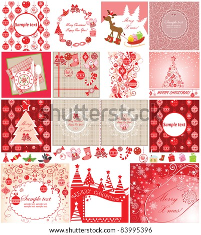 Xmas red cards - stock vector