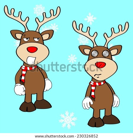 xmas reindeer cartoon expression set in vector format very easy to edit