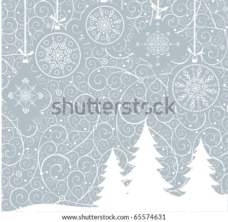 Xmas retro card - stock vector