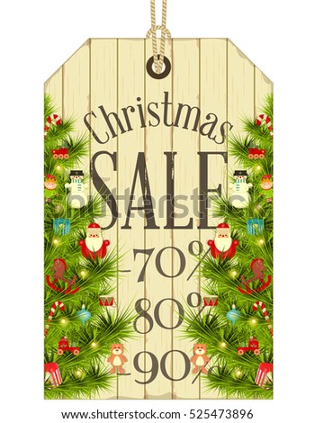 Xmas Sale Tag In Vintage Style White Wooden Background With Decorated Christmas Tree Vector