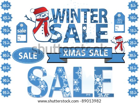 Xmas sale  tags for winter or xmas sale - stock vector