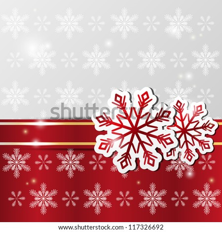 Xmas shiny background with snowflakes - stock vector