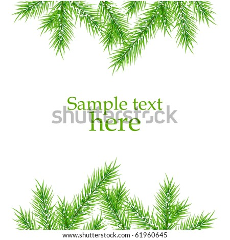 xmas tree branches vector background - stock vector