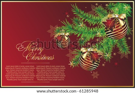 Xmas tree with red balls - stock vector