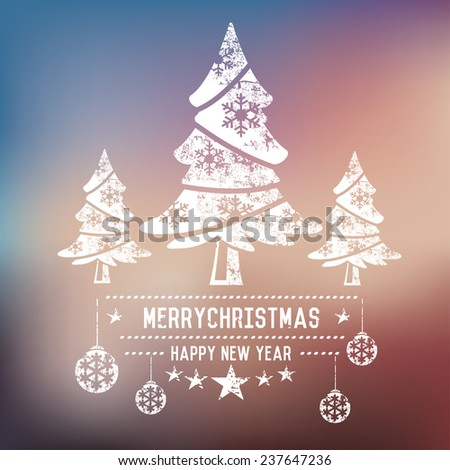 Xmas trees on blur background,clean vector