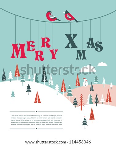 Xmas vector background with trees and snow - stock vector