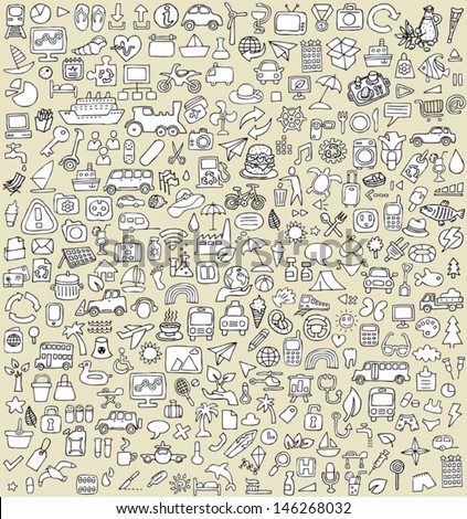 XXL Doodle Icons Set No.3 for every occasion in black-and-white. Small hand-drawn illustrations are isolated (group) on background and in eps8 vector mode. - stock vector