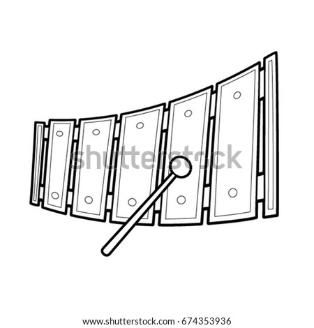 Xylophone Music Toy Vector Cartoon Black And White Outline
